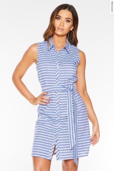 Blue & White Stripe Shirt Dress